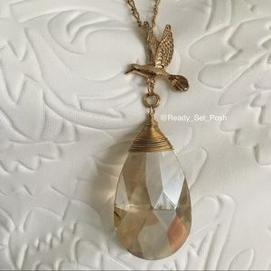 Jewelry - Gold toned hummingbird crystal pendant necklace